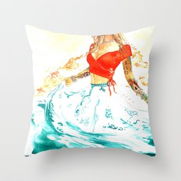 She is the Sea - Risa Marie Bohemian Ocean Goddess Throw Pillow