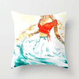She is the Sea - Risa Marie Bohemian Ocean Goddess Throw Pillow