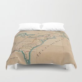 Vintage Map of British Forces in America (1766) Duvet Cover