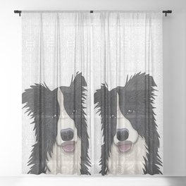 Happy Border Collie Sheer Curtain