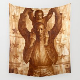 African-American Classical Masterpiece 'Black Father & Son, 1865' by Charles White Wall Tapestry
