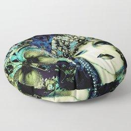 ART DECO FLAPPER COLLAGE POSTER PRINT 70S ROSES BIRDS BUTTERFLIES LADY Floor Pillow