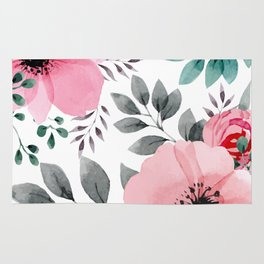 FLOWERS WATERCOLOR 14 Rug