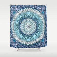Teal Tapestry Mandala Shower Curtain