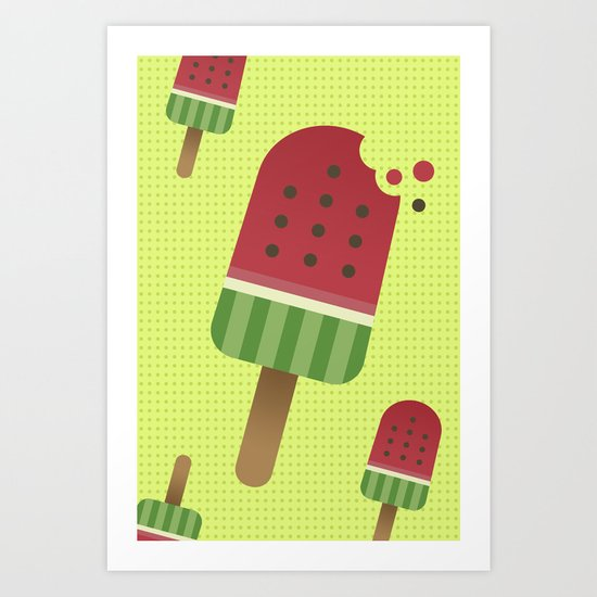 Watermelon Ice Pop Art Print