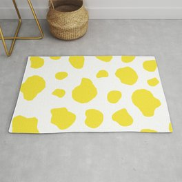 Yellow Cow Print Background Rug