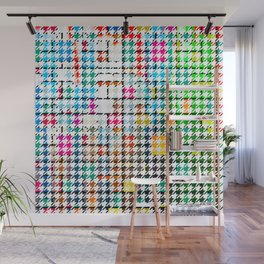 Houndstooth Colourful Abstract Modern Art Pattern Wall Mural