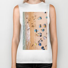 People On Algarve Beach In Portugal, Drone Photography, Aerial Photo, Ocean Wall Art Print Biker Tank