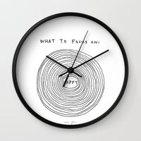 focus Wall Clocks featuring What to focus on by Marc Johns