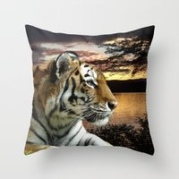novelty Throw Pillows featuring Sunset Tiger by Moody Muse