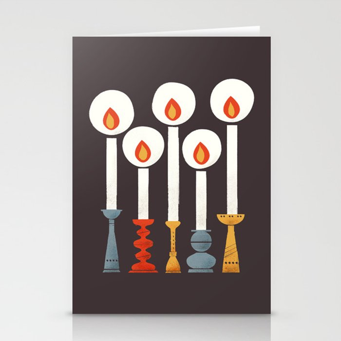 Festive Retro Candles Stationery Cards