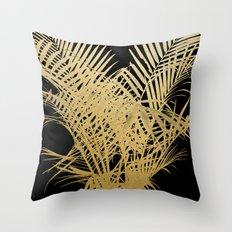 Golden Palms Throw Pillow