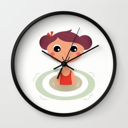 Beautiful young little summer swimming girl Wall Clock