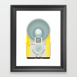VINTAGE CAMERA YELLOW Framed Art Print
