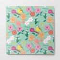 Joyful colourful floral pattern with bird by studiosaturday