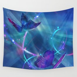 Butterflies and Light Swirls Abstract Wall Tapestry