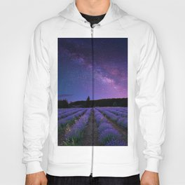 Milky Way over Lavender Fields Photographic Landscape Hoody