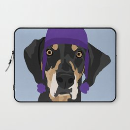 Purple hat Black and Tan Coonhound Laptop Sleeve
