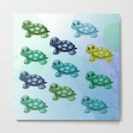 Sea Turtles Pattern Metal Print
