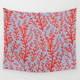 Pale Blue and Red Leaves Hand-Painted Pattern Wall Tapestry