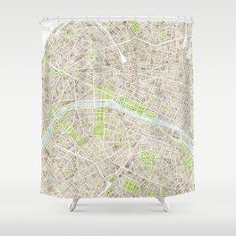 Paris SGB Watercolor Map Shower Curtain