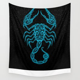 Blue Scorpio Zodiac Sign in the Stars Wall Tapestry