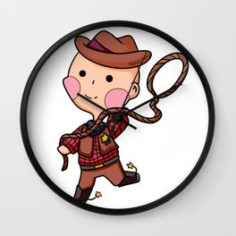 Cowboy Western Sheriff Cartoon Lasso kids gift Wall Clock