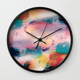 Modern Colorful Brush Strokes Paint Abstract Art Wall Clock