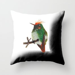 Rufous-crested Coquette Throw Pillow