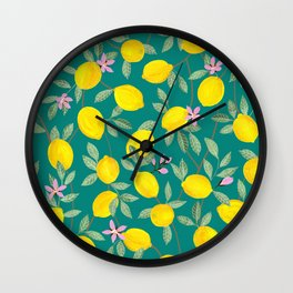 Lemons and Blossoms on Teal Wall Clock