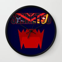 kill la kill Wall Clocks featuring Senketsu - Kill La Kill by feimyconcepts05