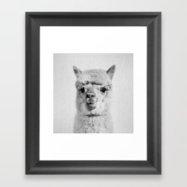 Alpaca - Black & White Framed Art Print