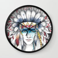indian Wall Clocks featuring indian by Faii Rivendell