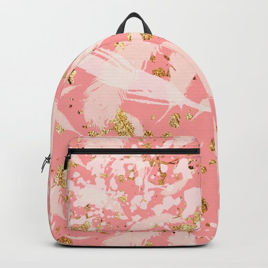 Feather peacock peach gold #9 Backpack