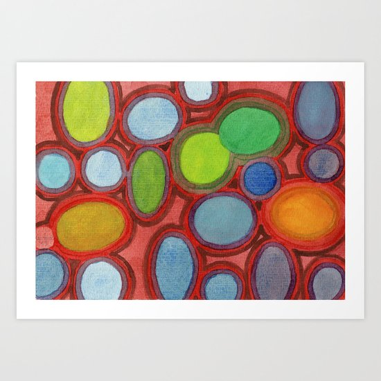 Abstract Moving Round Shapes Pattern Art Print
