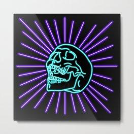 Blue Laughing Skull Metal Print