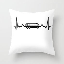 Bus Driver Heartbeat Schoolbus Gifts Throw Pillow