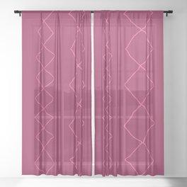 Moroccan Diamond Stripe in Magenta Sheer Curtain