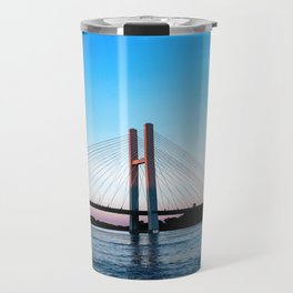 Mississippi River at Burlington, Iowa at Sunset Travel Mug
