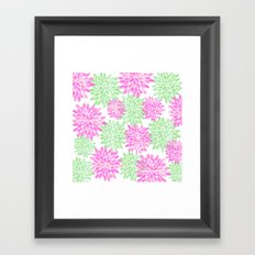 pink and green flowers Framed Art Print