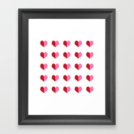 Hearts pink and red minimal cute gifts for valentines day heart pattern for love Framed Art Print