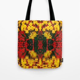 MODERN GARDEN DECORATIVE RED YELLOW DAFFODILS Tote Bag