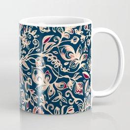 Navy Garden - floral doodle pattern in cream, dark red & blue Coffee Mug