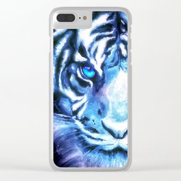 White Tiger | Snow Tiger | Tiger Face | Space Tiger Clear iPhone Case