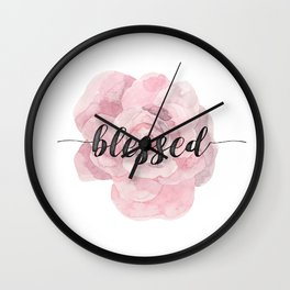 Christian Watercolor Typography Text Quote - Blessed Wall Clock