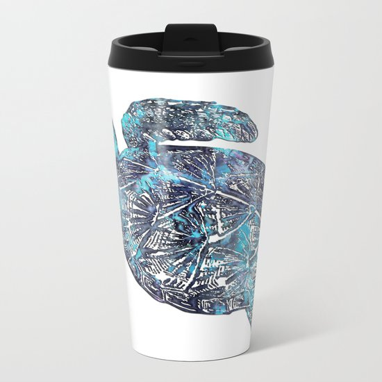 Sea Turtle Blue Watercolor Art Metal Travel Mug