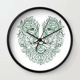 Green Man Head Front Mandala Wall Clock