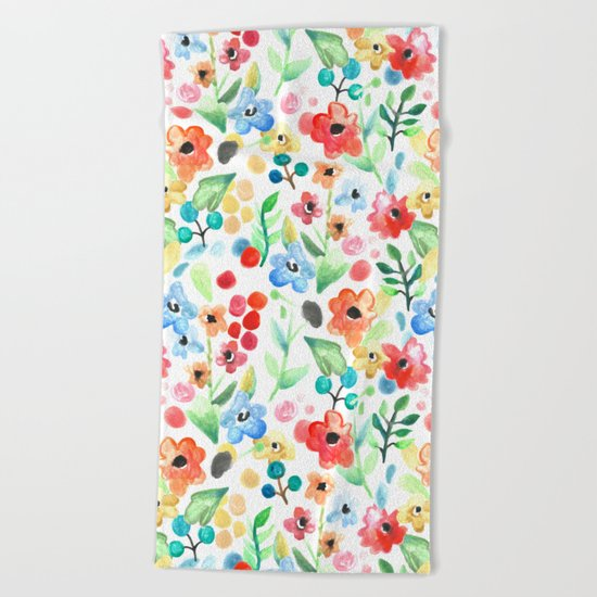Flourish - Watercolor Floral Beach Towel