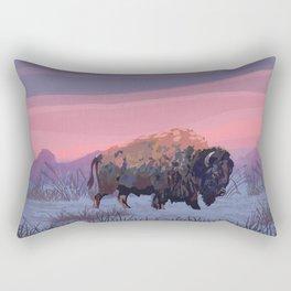 Buffalo Winter Painting Rectangular Pillow