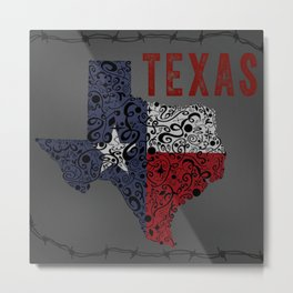 Texas - Hand Sketched Doodled State with Barbed Wire Metal Print